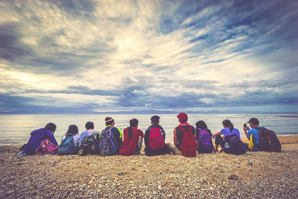 Group of People at Beach