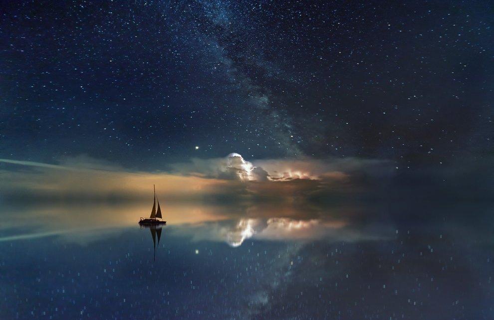 Boat in Starry Sky