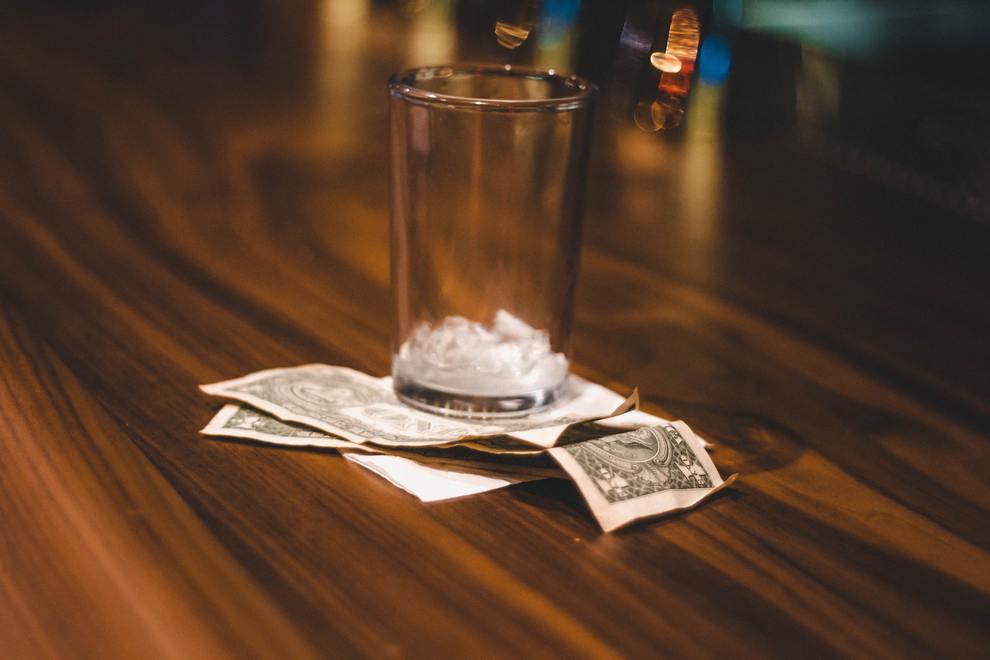 empty glass money cash