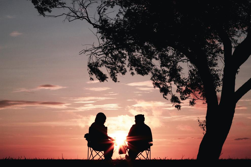 people talking sunset